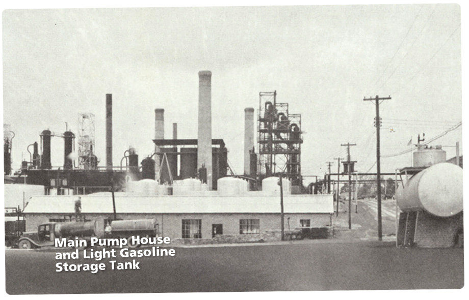 View of main pump house and light gasoline storage tank
